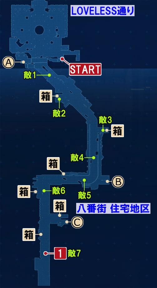 FF7リメイクのLOVELESS通り ~ 八番街 住宅地区の攻略マップ