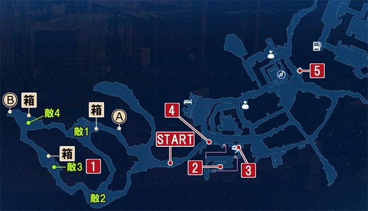 FF7リメイクのガレキ通り ~ 居住区の攻略マップ