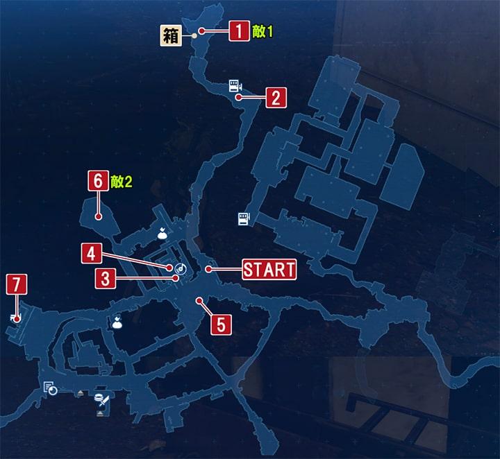FF7リメイクの動く神羅 ~ ジェシーの依頼の攻略マップ