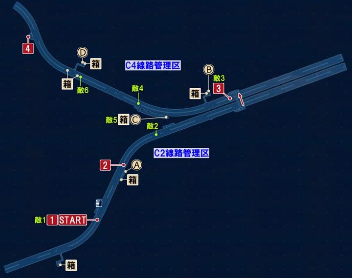 FF7リメイクのC区画の攻略マップ