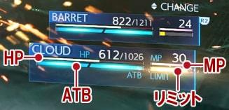 HP、MP、ATB、リミットゲージ