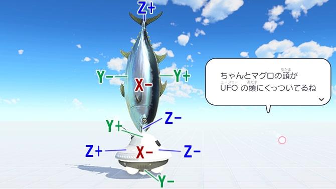 UFOとマグロのXYZの座標