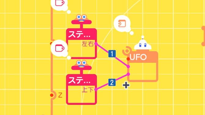 LスティックとUFOを繋ぐ様子