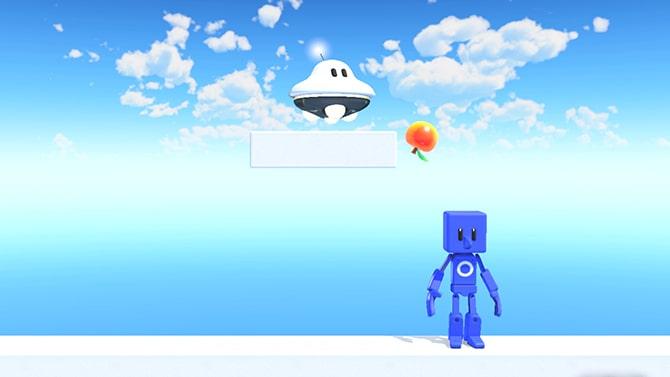 UFOがリンゴを押す様子