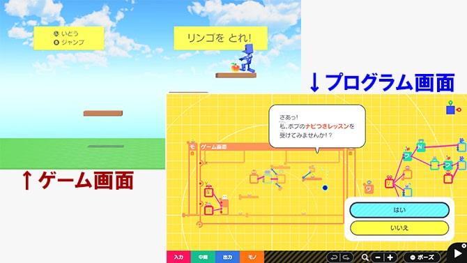 ゲーム画面、プログラム画面