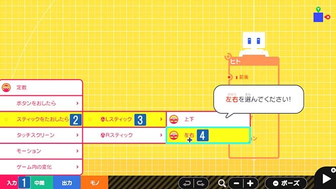 ステップ1でスティックノードンを表示させる手順