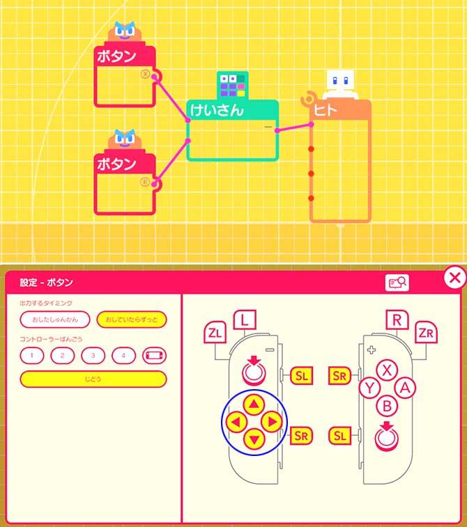 ボタン操作でキャラクターを移動させるプログラム