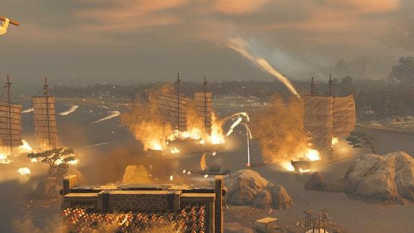 火槍を発射して蒙古船を沈めるシーン