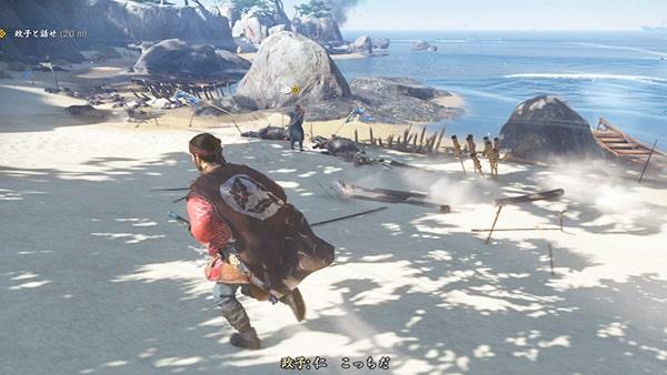 砂浜に安達家の兵が倒れている様子