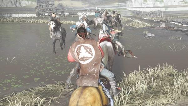 騎兵の蒙古とのバトルシーン