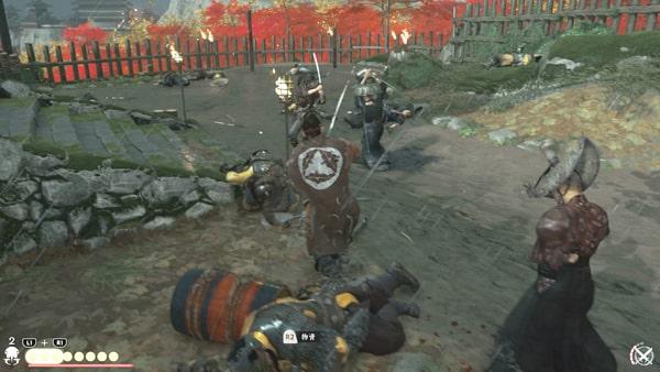 菅笠衆と蒙古兵とのバトルシーン