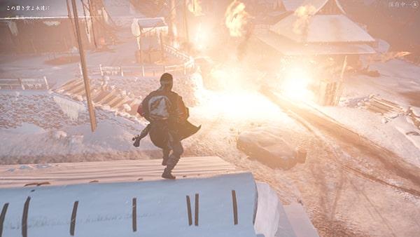 火薬樽を爆破するシーン