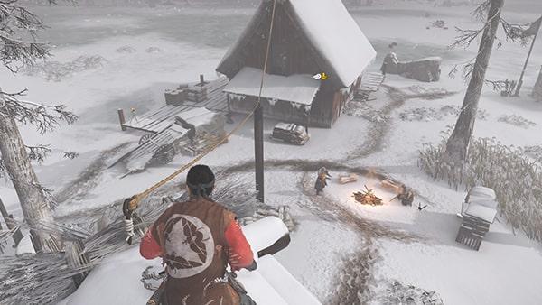 宿営にいる蒙古兵を倒す様子