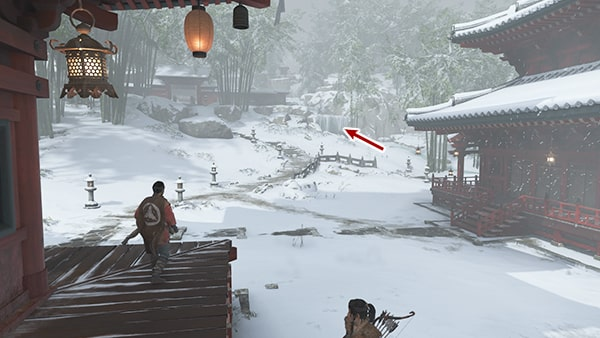 城岳寺の凍った滝の場所