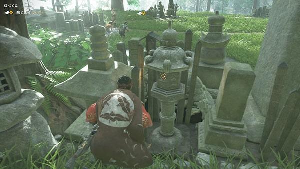 墓地で賊の行動を観察している様子