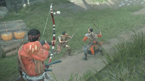 あばら家で蒙古兵と戦う様子