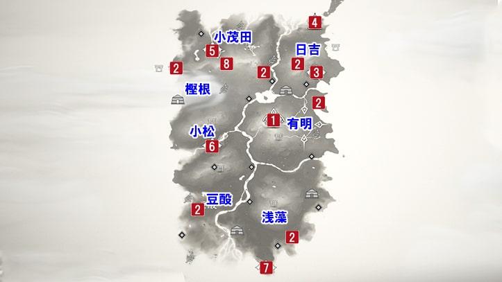 ゴーストオブツシマの厳原のマップ