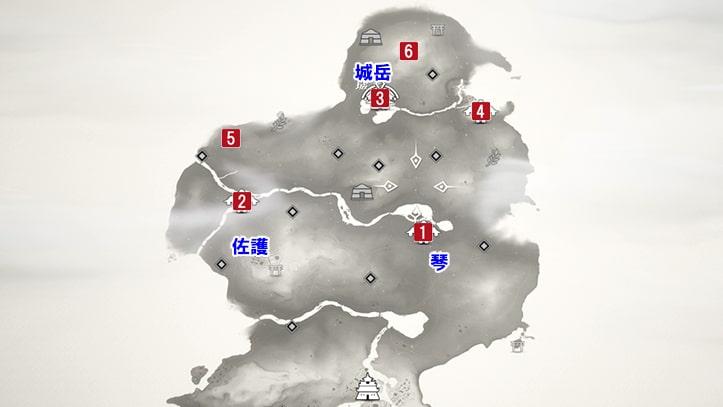 ゴーストオブツシマの上県のマップ