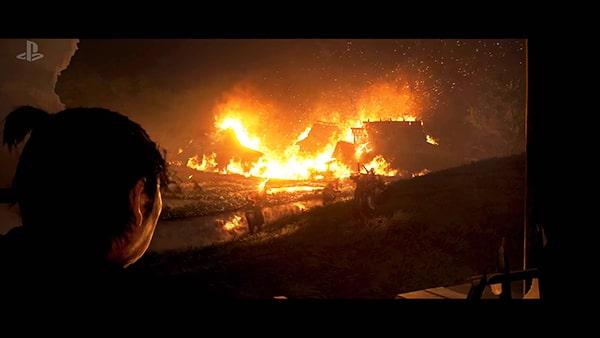 対馬が燃える風景