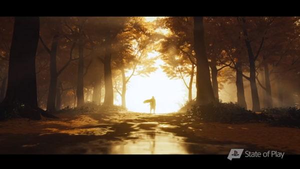 ジン・サカイが森で立っているシーン