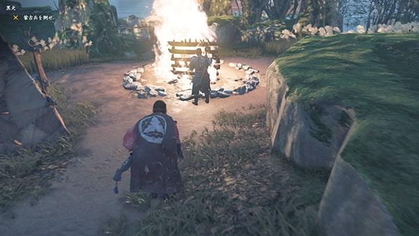 焚き火のところにいる蒙古兵