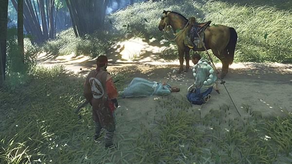 矢を受けて瀕死の僧の様子