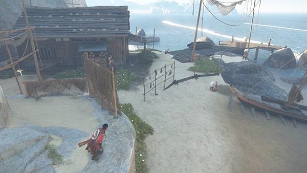 蒙古兵がいる浜辺の風景