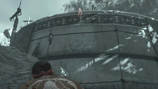 崖上にいる弓兵の場所