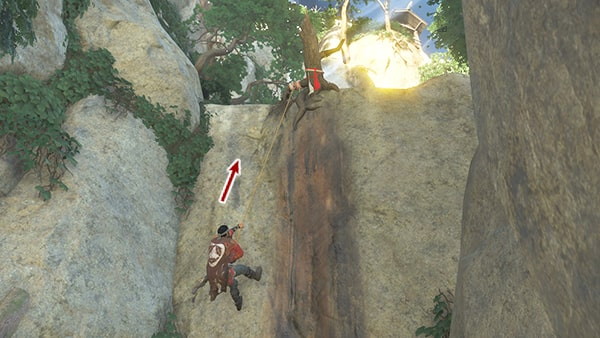 鉤縄で崖を登るシーンその2