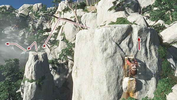 鉤縄で崖を登るシーンその3