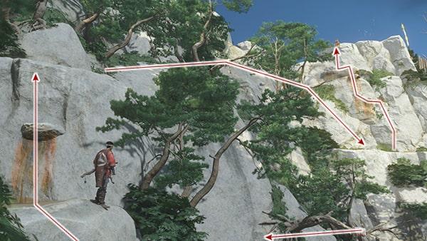 鉤縄で崖を登るシーンその4