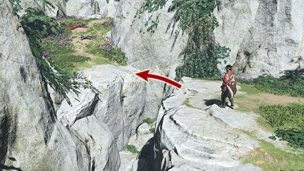 岩壁をジャンプして進む場所