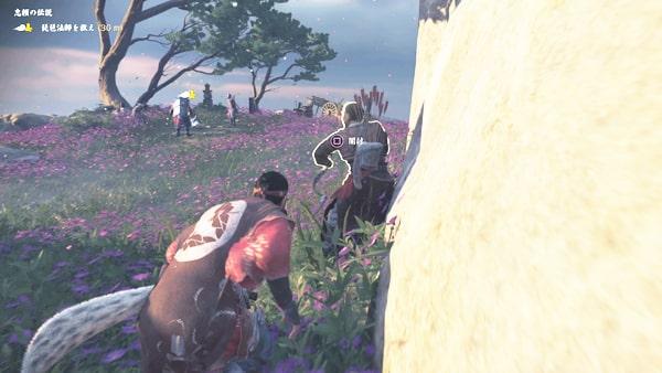 琵琶法師が蒙古に襲われてるシーン