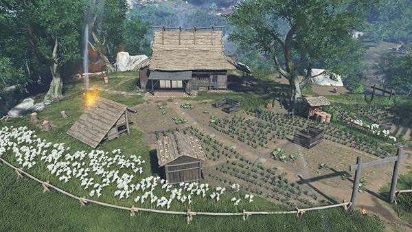 浮世草を開始できる百姓の家の風景