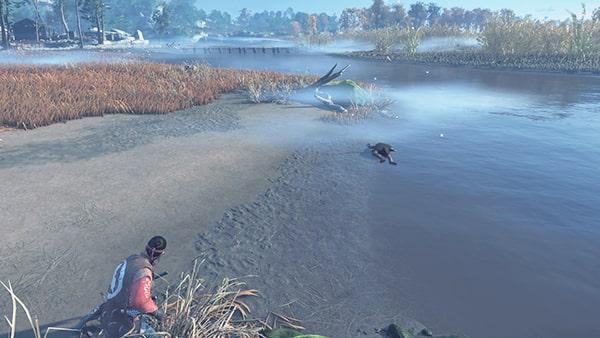 川辺に倒れている遺体と風景