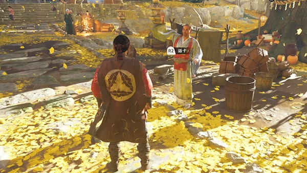 僧(純信)と黄金寺の風景