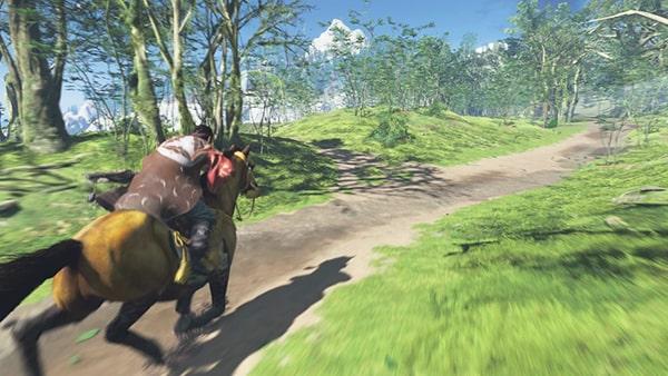 馬で巴を追いかけるシーン