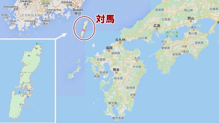 ゴーストオブツシマの舞台となる、日本の対馬の場所のマップ