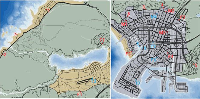 GTA5の不動産と乗り物の駐車場のマップ
