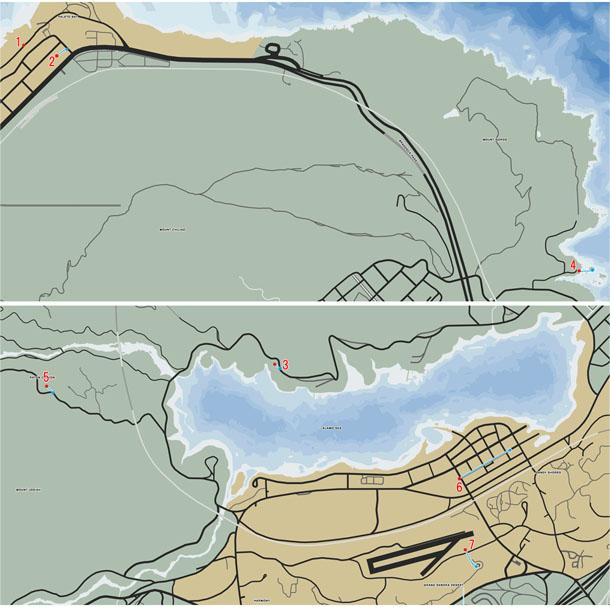 スタントジャンプの場所(1〜7)のマップ