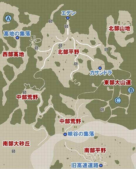 素材入手場所のマップ