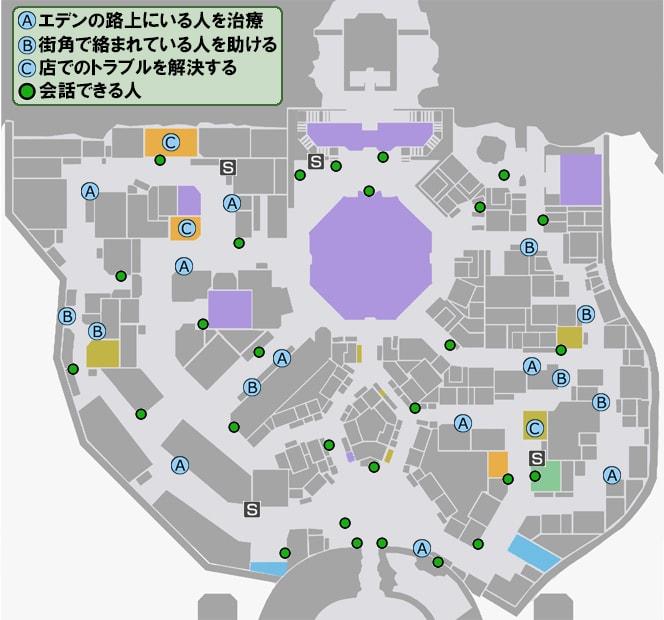 人助けが発生する場所と会話できる人のマップ