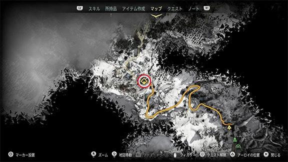 サイドクエスト『凍てついた大地へ』のマップ