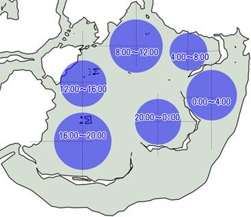 アイロネートが出現する場所のマップ