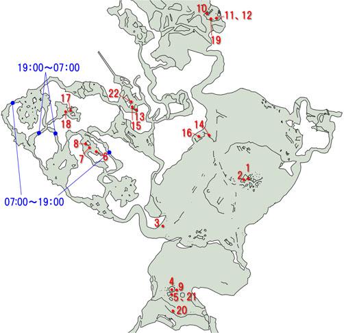 ウィルダネスのサイドクエストのマップ