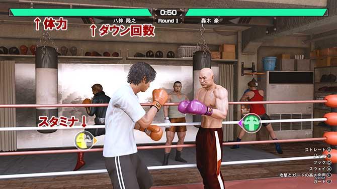 ボクシングゲームの体力ゲージとスタミナゲージ