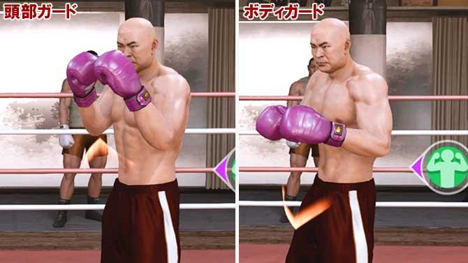 ボクシングゲームの頭部ガードとボディガード