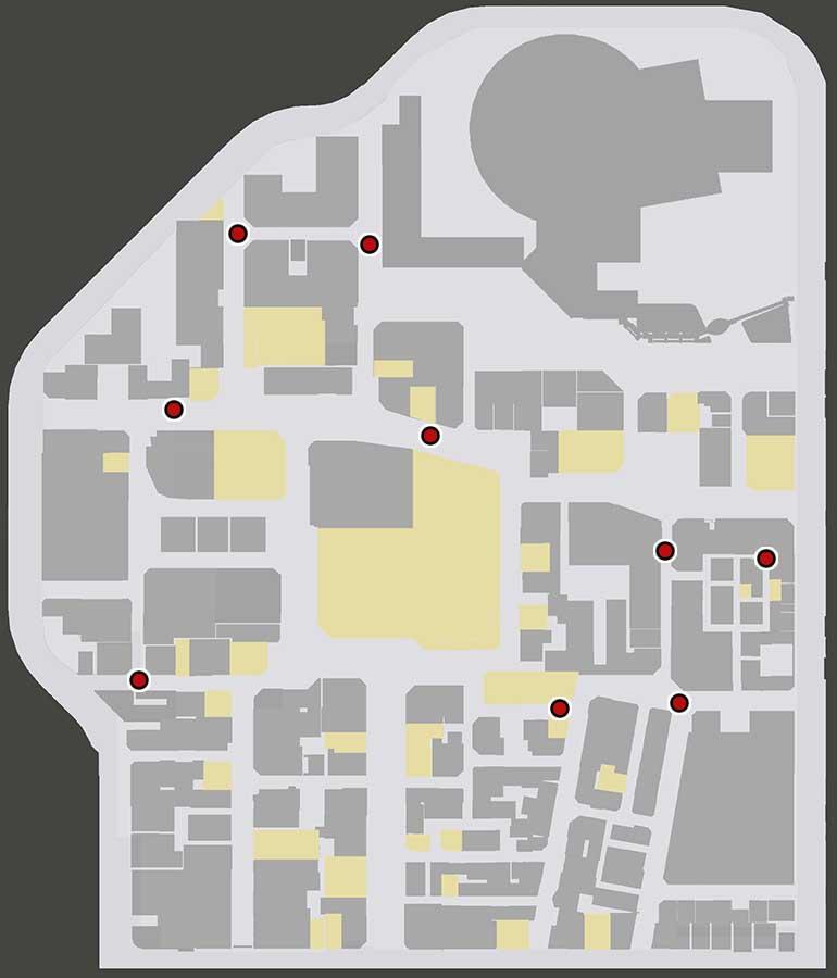 神室町で落とし物を入手できる場所のマップ