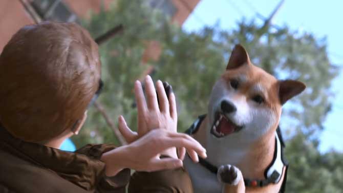 ロストジャッジメントの探偵犬が襲うカットシーン