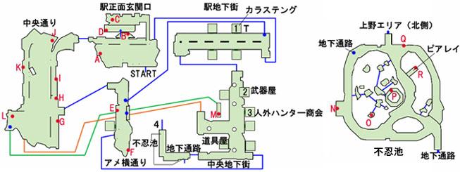 東京上野の地下街のマップ
